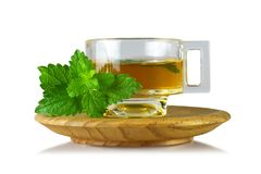 Lemon balm Melissa tea in cup isolated on white background stock photography