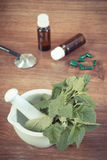 Lemon balm in mortar, stethoscope and medical capsules, choice between pills and alternative medicine Stock Image