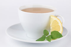 Lemon balm tea with lemon Stock Photo