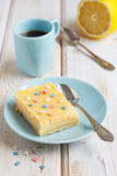 Lemon bars. With a cup of espresso Stock Photo
