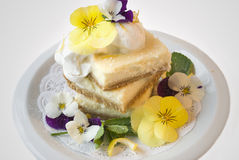 Lemon Bars With Flower Garnish Royalty Free Stock Photos
