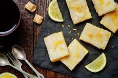 Lemon bars with lemon icing royalty free stock image