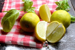 Lemon and basil on red napking cook Stock Photos