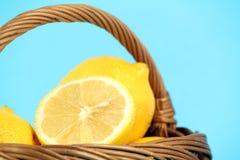 Lemon in basket Stock Photos