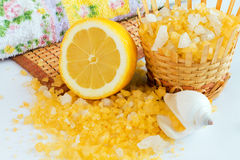 Lemon bath salt. In basket Royalty Free Stock Images