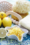 Lemon bath salt Stock Photos