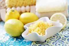Lemon bath salt Stock Photo