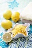 Lemon bath salt Royalty Free Stock Images