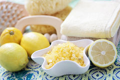 Lemon bath salt Royalty Free Stock Photo