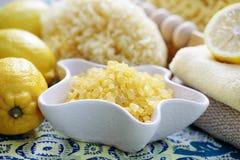 Lemon bath salt Royalty Free Stock Photos