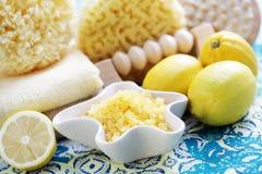 Lemon bath salt Royalty Free Stock Image