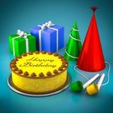 Lemon birthday cake Stock Photos