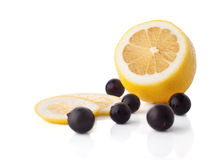 Lemon and blackberries fruits Royalty Free Stock Photos