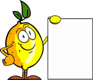 Lemon with blank board Stock Photo