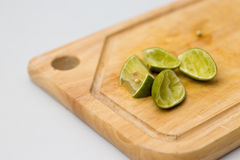 Lemon on block Stock Image