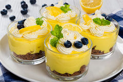 Lemon Blueberry cheesecake in glass cups, close-up, macro Royalty Free Stock Photos