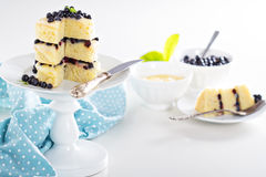 Lemon blueberry layer cake Stock Photos