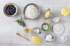 Lemon Blueberry Pancakes Ingredients Stock Image
