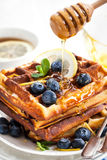 Lemon blueberry waffles with honey Stock Images