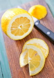 Lemon on board Stock Photo