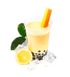 Lemon Boba Bubble Tea. With fruits and crushed ice Stock Photos