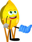 Lemon with a broken leg walking on crutches Royalty Free Stock Image