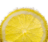 Lemon. With bubbles on white background Royalty Free Stock Photography