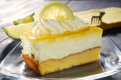 Lemon cake. With cream on a plate Stock Photo
