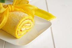 Lemon cake with bow Royalty Free Stock Image