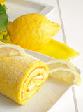 Lemon cake, close-up Royalty Free Stock Images