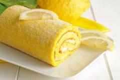 Lemon cake, close-up Stock Images