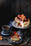 Lemon Cake with colorful raspberries Stock Photos
