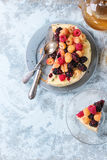 Lemon Cake with colorful raspberries Royalty Free Stock Photo