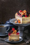 Lemon Cake with colorful raspberries Royalty Free Stock Image