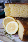 Lemon Cake. This is a delicious cake with slices of lemon in the dish. It is soft and sweet and smells of citrus Stock Photo