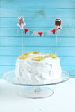 Lemon cake with egg white meringue and candied lemon slices Stock Photography