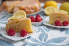 Lemon Cake with fresh raspberries stock photo