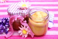 Lemon cake in a glas Stock Images