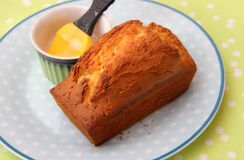Lemon cake. A homemade lemon cake of wheat flour and butter royalty free stock photography