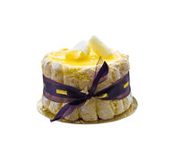 Lemon cake Isolated. Lemon charlotte cake with ribbon, isolated over white, with clipping path Stock Image