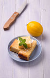 Lemon cake and mint Stock Image