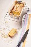 Lemon cake with poppy seeds. Sliced. Stock Photography