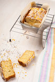 Lemon cake with poppy seeds. Sliced. Royalty Free Stock Photos