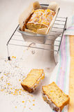 Lemon cake with poppy seeds. Sliced. Royalty Free Stock Image