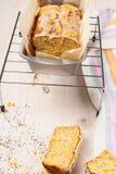 Lemon cake with poppy seeds. Sliced. Stock Photo