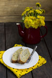 Lemon cake with poppy. On a white plate Royalty Free Stock Image
