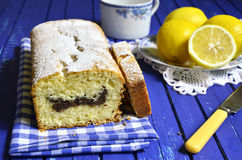 Lemon cake with poppyseed. Stock Photo