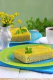 Lemon cake. Lemon sponge cake slices on glass plate. Shallow DOF royalty free stock photo