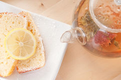 Lemon cake with tea Stock Photos