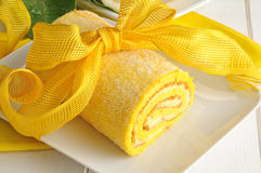 Lemon cake with yellow bow Royalty Free Stock Image